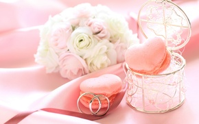 Picture flowers, roses, ring, cookies, box