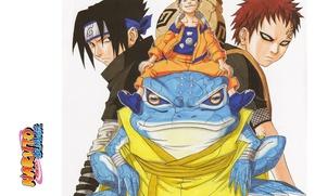 Picture look, headband, Naruto, toad, grin, ninja, Uchiha Sasuke, Naruto Uzumaki, Gaara, Naruto shippuuden, angry, by …