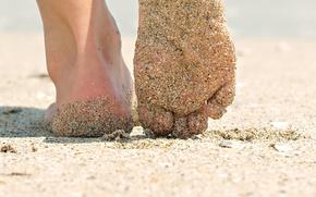 Picture beach, girl, background, Wallpaper, feet, mood, heel. sand. macro, summer. the sun