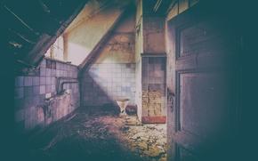 Picture light, window, inside, room, door, toilet, decay