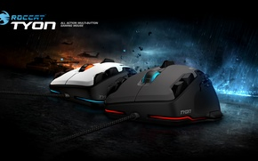Picture red, game, rain, blue, button, Roccat, action, mouse, tyon