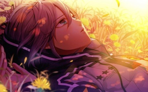 Picture summer, grass, flowers, face, jacket, amnesia, orion, by mai hanamura