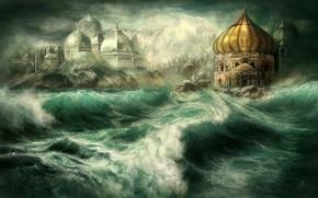Picture sea, wave, the city, rocks, island, art, dome