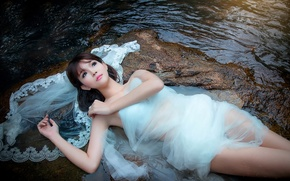 Picture girl, stream, stones, for, dress