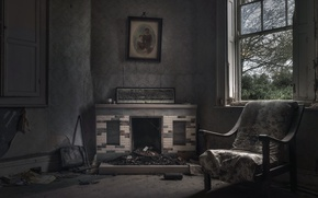 Picture chair, window, fireplace