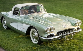 Wallpaper 1960, retro, classic, Corvette