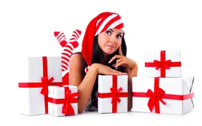 Picture girl, new year, gifts