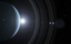Picture the sun, stars, planet, ring, gas giant