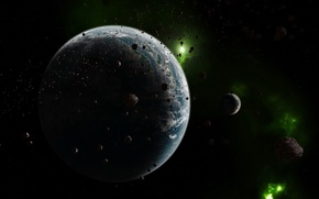 Picture space, asteroids, Planet