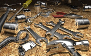 Picture metal, abstraction, Shine, key, hammer, tool, repair, chrome, screwdriver, the these pliers, the piston, Nickel
