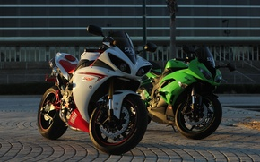 Picture green, motorcycles, the evening, white, yamaha, Kawasaki, kawasaki, Yamaha, ninja, zx-6r, yzf-r1