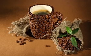 Picture leaves, creative, coffee, mugs, leaves, grain, coffee, coffee beans, Cup of coffee