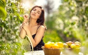 Wallpaper greens, girl, beauty, fruit, photographer, sitting, face, Maarten Quaadvliet