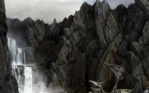 Picture sea, rocks, dragon, waterfall, skeleton