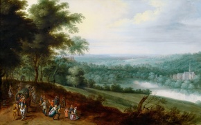 Picture trees, picture, valley, Jan Brueghel the younger, Landscape with Travellers and Peasants Dancing