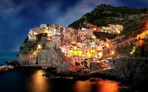 Picture night, the city, rocks, coast, home, boats, the evening, Italy, Italy, Amalfi, Amalfi