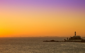 Picture sea, sunset, lighthouse, the evening, Brazil, sea, sunset, evening, Brazil, Brasil, lighthouse, Salvador, Salvador, Bahia, ...