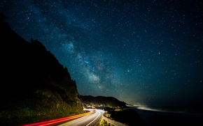 Wallpaper road, lights, lights, The milky way, road, milky way