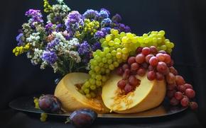 Picture grapes, plum, melon