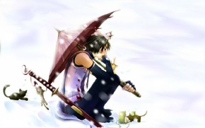 Picture snow, blood, katana, umbrella, kittens, sad, fanart, Itachi Uchiha, Naruto Shippuden, Naruto shippuuden, ANBU