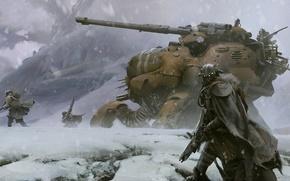 Picture snow, mountains, weapons, destiny, robot, art, soldiers, tank, helmet, cloak, fur, military