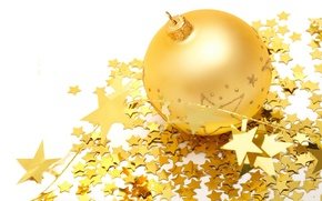 Picture BACKGROUND, WHITE, BALL, GOLD, STARS, TOYS