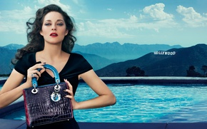 Picture clouds, landscape, mountains, smile, model, Hollywood, pool, makeup, dress, actress, brunette, hairstyle, Hollywood, bag, beauty, …