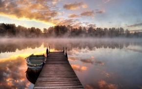 Picture fog, lake, boat, morning, the bridge
