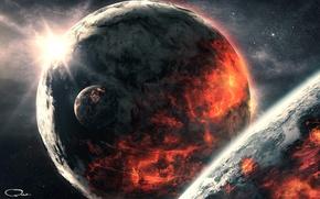 Picture space, surface, cracked, star, planet, art, destruction, QAuZ