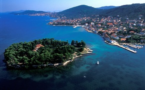 Picture sea, the city, coast, home, boats, Croatia, piers, Jadran, the island of Ugljan, Ugljan