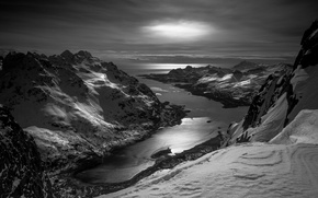 Picture ice, winter, mountains, Norway, black and white
