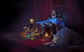 Picture crystal, fantasy, magic, wolf, warrior, Saga, To Glory