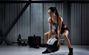 Wallpaper woman, female, workout, ball training