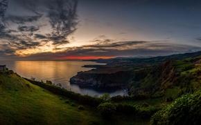 Picture sunset, the ocean, rocks, coast, island, horizon, Portugal, Atlantic, Azores, Sao Miguel Island, San Miguel