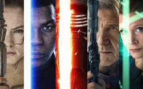 Wallpaper Star Wars Episode VII: The Force Awakens, light saber, The Force Awakens, jedi, faces, black ...