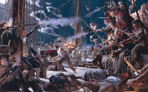 Picture night, death, smoke, ship, shot, pirates, moon, horror, gun, moonlight, corpses, swords, night, fight, gunpowder, …