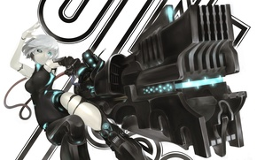 Picture girl, gun, weapons, robot, anime, art, wire, games