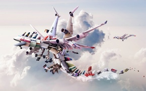Wallpaper engines, rendering, dragons, many, brands, technological airlines, cargo, types, Dragon fly, technology, flight, clouds, aircraft