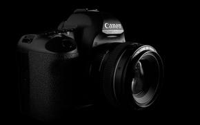 Picture Wallpaper, the camera, black background, Canon 5D MarkII