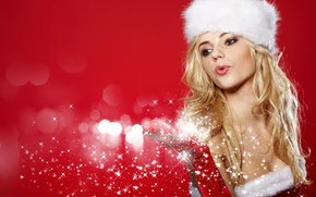 Picture girl, snowflakes, hat, hand, New Year, blonde, maiden, glove, red background, brown-eyed