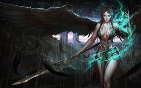 Wallpaper erotic, pose, weapons, magic, wings, feathers, art, girl. look