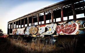 Wallpaper graffiti, abandoned, tram, the car