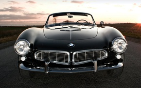 Picture road, field, the sky, sunset, black, BMW, BMW, sports car, convertible, the front, 1957, Series …