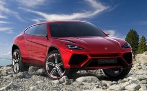Picture Concept, the sky, red, stones, Lamborghini, jeep, the concept, the front, Lamborghini, Urus, Urus
