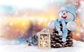 Picture Candles, Snow, Hat, New year, Holiday, Bumps, Snowman