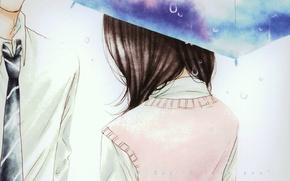 Picture drops, umbrella, tie, two, Kurosawa Yamato, Tachibana Mei, Say i love you