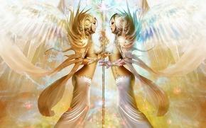 Picture light, fantasy, angel, women