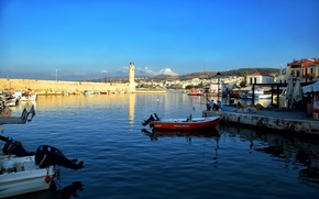Picture sea, fishing, lighthouse, boats, Greece, Rethymno, Crete