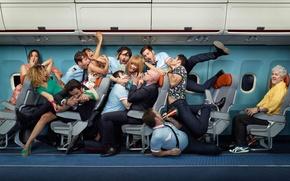 Wallpaper crush, window, the plane, guys, bite, seat, surprise, Creek, grip, The situation, girls, capture, language