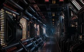 Picture fiction, ship, corridor